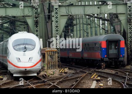 Germany Railways passenger trains crossing the river Rhine in Cologne, North Rhine-Westphalia, Germany. - Stock Photo