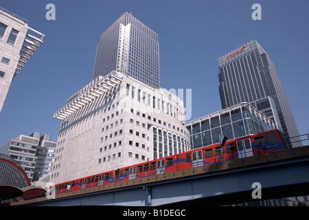 Canary Wharf and the Docklands Light Railway, London, England - Stock Photo