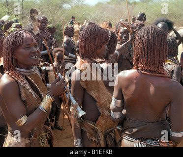A group of Hamar women at a 'Jumping of the Bull' ceremony. The Hamar are semi-nomadic pastoralists of Southwest - Stock Photo