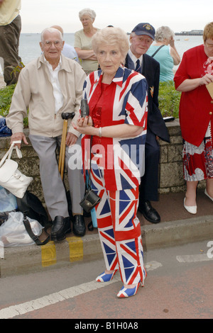 Senior female dressed in a British flag two piece suit - Stock Photo