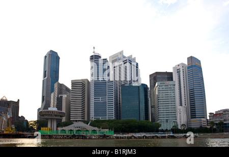 Singapore's financial district on Marina Bay, Singapore, Southeast Asia - Stock Photo