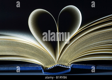 Open book, two pages folded into the shape of a heart - Stock Photo