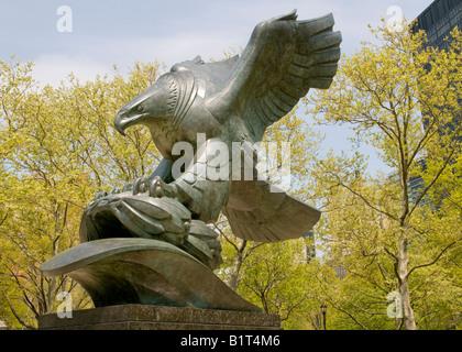 New York War Memorial American Eagle in Battery Park, Manhattan - Stock Photo