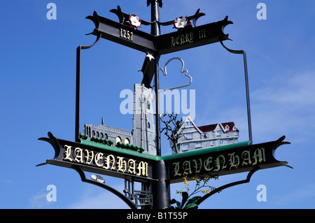Lavenham Village Sign, Suffolk England UK - Stock Photo