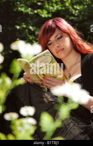 girl reading Alice in Wonderland seated on a park bench - Stockfoto