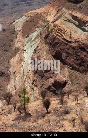 Los azulejos layers of volcanic rock coloured rock formation stock photo royalty free image - Los azulejos gran canaria ...