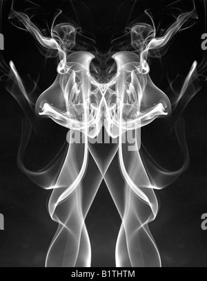 White smoke pattern from a burning incense stick.  It's been duplicated and mirrored to form an organic shape. - Stock Photo