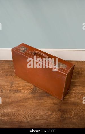 Vintage leather case - Stock Photo