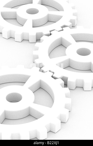 Illustration of white gear wheels over white background - Stock Photo