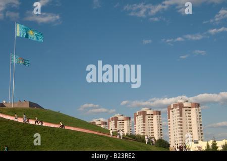 People strolling in Arai park in Astana capital of Kazakhstan - Stock Photo