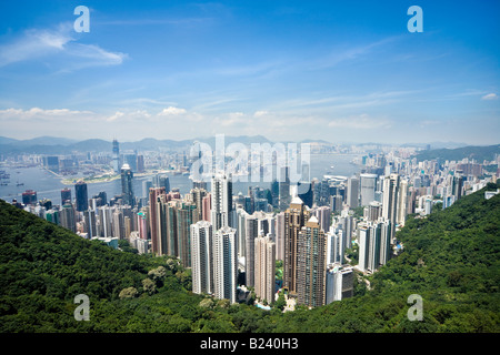Hong Kong skyline. Panoramic view of Hong Kong and Kowloon from Victoria Peak Tower. Hong Kong, China, SAR, on a - Stock Photo