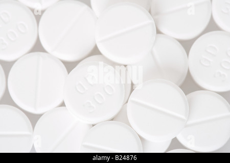 Close up of white pills - Stock Photo