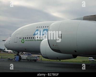 Airbus A380 at Farnborough International Airshow 2008 - Stock Photo