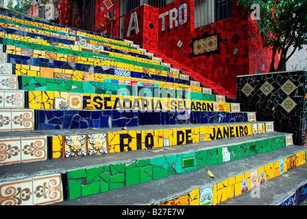 Escadaria Selaron, a mosaic tiled staircase in Rio de Janeiro, Brazil - Stock Photo