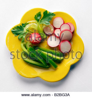 Raw vegetables on plate - Stock Photo
