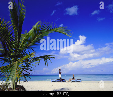 geography / travel, Jamaica, Negril, western Jamaica, tourist beach, holiday, holidays, vacation, caribbean, man - Stock Photo
