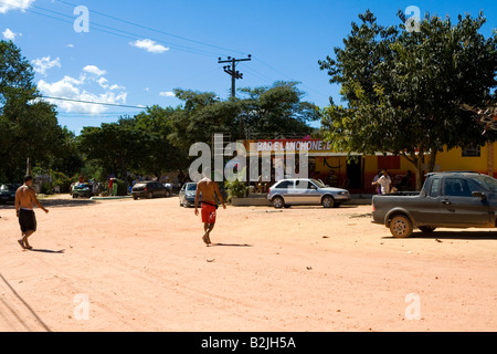 Central Square, Street Scene, Povoado de São Jorge, Goiás, Brazil, South America - Stock Photo