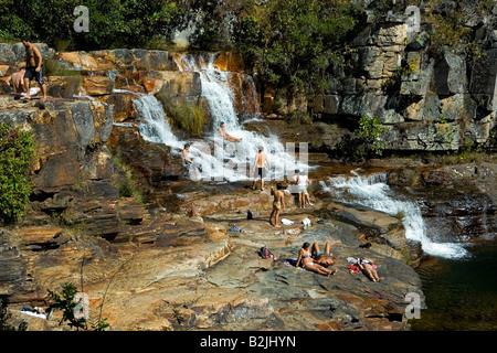 Almecegas II Waterfall, Chapada dos Veadeiros, Veadeiros Tableland, Goias, Brazil - Stock Photo