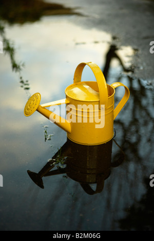 Yellow painted steel watering can in a puddle - Stock Photo