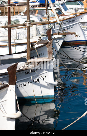 Yachts moored at pier in Cala Ratjada, Majorca, Spain - Stock Photo