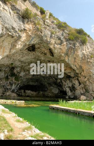 Grotta di Tiberio. The emperor Tiberius was known to have a villa in the area, Sperlonga, Lazio, Italy, Europe. - Stock Photo