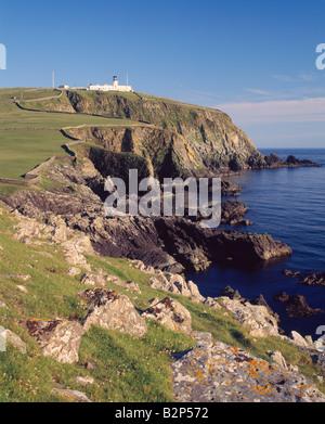 Sumburgh Head lighthouse, South Mainland, Shetland Isles, Scotland, UK - Stock Photo