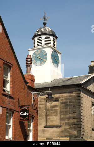 Clock on the Old Town Hall Market Place Whitby North Yorkshire United Kingdom GB Great Britain - Stock Photo