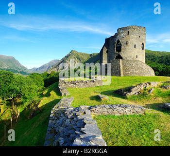 The derelict keep of Dolbadarn Castle on the banks of Llyn Padarn near Llanberis in Snowdonia national park North - Stock Photo