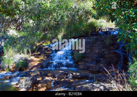 Waterfall, Cristal River, Rio Cristal, Chapada dos Veadeiros, Veadeiros Tableland, Goias, Brazil - Stock Photo