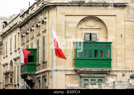 Typical maltese balconies valletta malta europe stock for Closed balcony