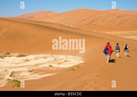 Visitors hike among sand dunes in Namib Naukluft Park at Sossusvlei in Namibia Africa - Stock Photo