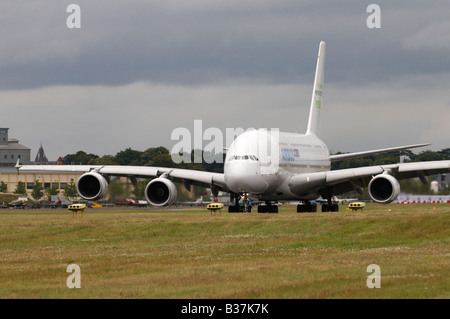 Airbus A380-842 on runway Farnborough Air Show 2008 - Stock Photo