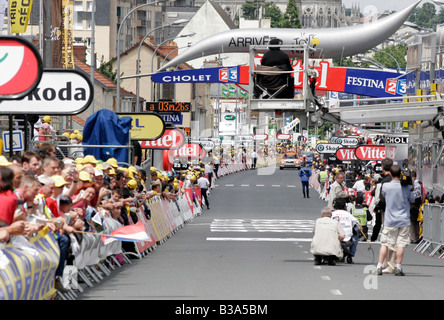 The finish line at the time trial Cholet leg of the Tour De France in 2008 - Stock Photo
