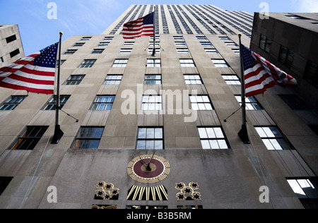 View looking up at one of the the skyscrapers in the Rockefeller Centre - Stock Photo