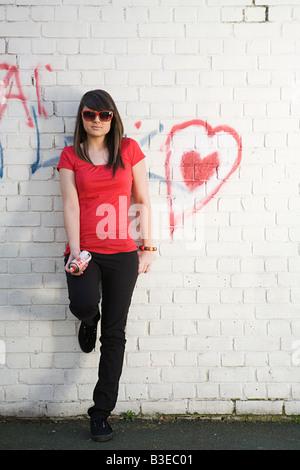 Girl with graffiti - Stock Photo