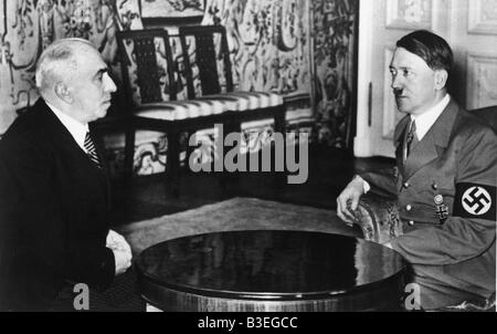 Hitler and Hacha in Prague, 1939. - Stock Photo