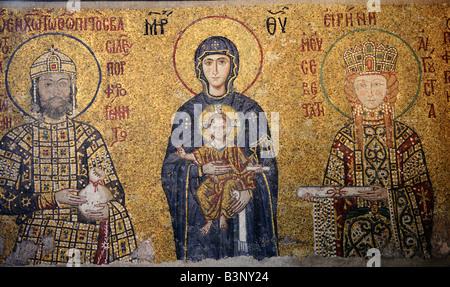 Virgin Maria in the Comnenus Mosaic, Hagia Sophia, Istanbul, Turkey - Stock Photo