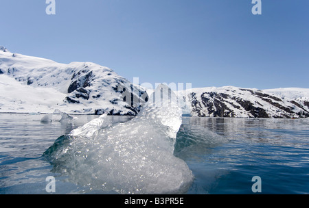 Melting, drifting ice block, Beloit Glacier, Blackstone Bay, Pacific Coast, Prince William Sound, Alaska, USA - Stock Photo