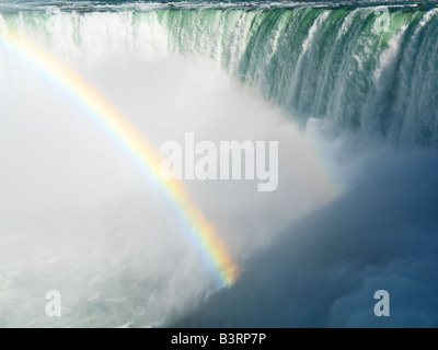 Canada,Ontario,Niagara Falls,Canadian Falls with a rainbow - Stock Photo