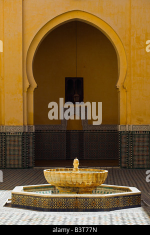 Interior of the Mausoleum of Moulay Ismail in Meknes, Morocco. Moulay Ismail made Meknes his capital - Stock Photo
