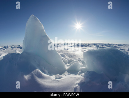 Panoramic view of a snow covered landscape, Greenland - Stock Photo