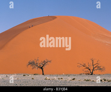 Namibia, Namib Desert, Sesriem. Visitors to Sesriem hike up and down Dune 45 in the late afternoon. This dune, so - Stockfoto