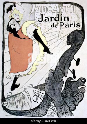 fine arts - Toulouse-Lautrec, Henri de (1864 - 1901), poster for Jardin de Paris, with dancer Jane Avril, 1893 19th - Stock Photo
