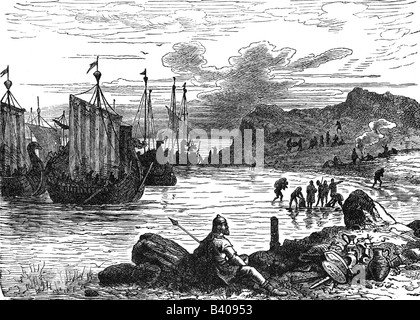 middle ages, Vikings, arrival in England, History painting, engraving, 19th century, historic, historical, Viking, - Stock Photo