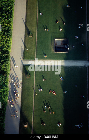 Summer view down on the Parc du Champ de Mars from the Eiffel Tower, Paris, France - Stock Photo
