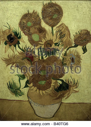 fine arts, Gogh, Vincent van (1853 - 1890), painting, 'Fourteen sunflowers in a vase', 1889, oil on canvas, Rijksmuseum, - Stock Photo