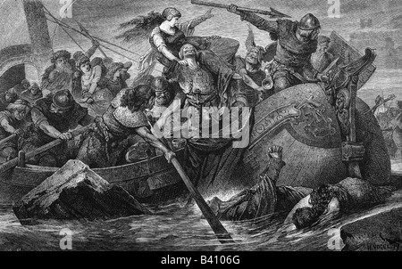middle ages, Vikings, battle, History painting, engraving, 19th century, Viking, Norman, Normans, aggression, historic, - Stock Photo