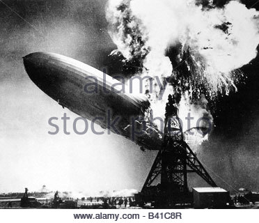 transport/transportation, aviation, airships, Zeppelin, disaster of LZ 129 'Hindenburg', Lakehurst, New Jersey, - Stock Photo