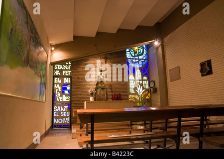 Chapel beside the tunnel leading to the pitch at Camp Nou Stadium Barcelona Spain - Stock Photo