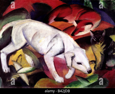 fine arts, Marc, Franz, 8.2.1880 - 4.3.1916, painting, 'Dog, fox and cat', (Hund, Fuchs und Katze), 1912, oil on - Stock Photo